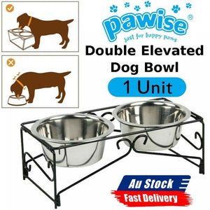 Dual Elevated Raised Pet Dog Feeder Bowl Stainless Steel Food 2x350ml WaterStand
