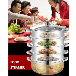 4 /5 Tier Stainless Steel Steamer Meat Vegetable Cooking Steam Pot Kitchen Tool