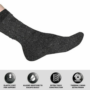 3Pairs Socks Adults Workwear Bamboo Brushed Lining Crew Cut Black, Grey & Navy