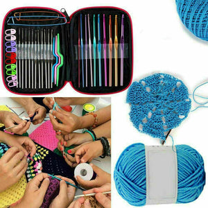 124PCS NEW Aluminum Crochet Hooks Kit Weave Knitting Needles Sewing Tools Case