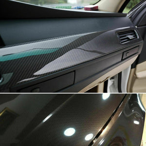 Gloss Black Carbon Fiber Vinyl Car Phone Laptop Wrap Sticker Film