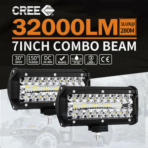 1 Pair 7inch CREE LED Work Light Bar Spot Flood Lights Off Road 4WD