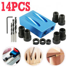 Load image into Gallery viewer, 14PCS 15° Pocket Hole Screw Jig Dowel Drill Set Wood Tool kit Angle Hole Locator