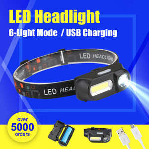LED USB Rechargeable Headlamp With FREE BATTERY