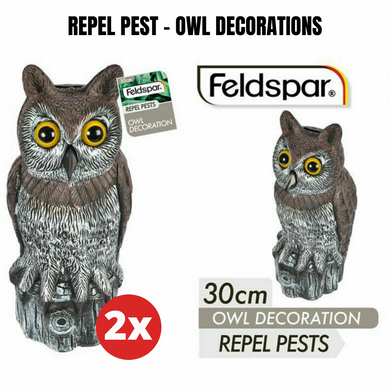 2x  Repel Pest Garden Owl Decoration 30cm Deterrent Garden Scarecrow