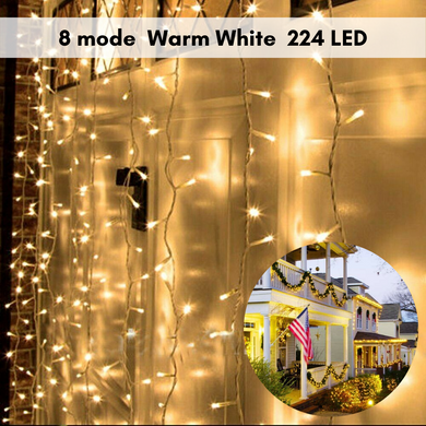 Warm White 224LED Christmas Fairy String Lights Wedding Garden Party Lamp 8-Mode