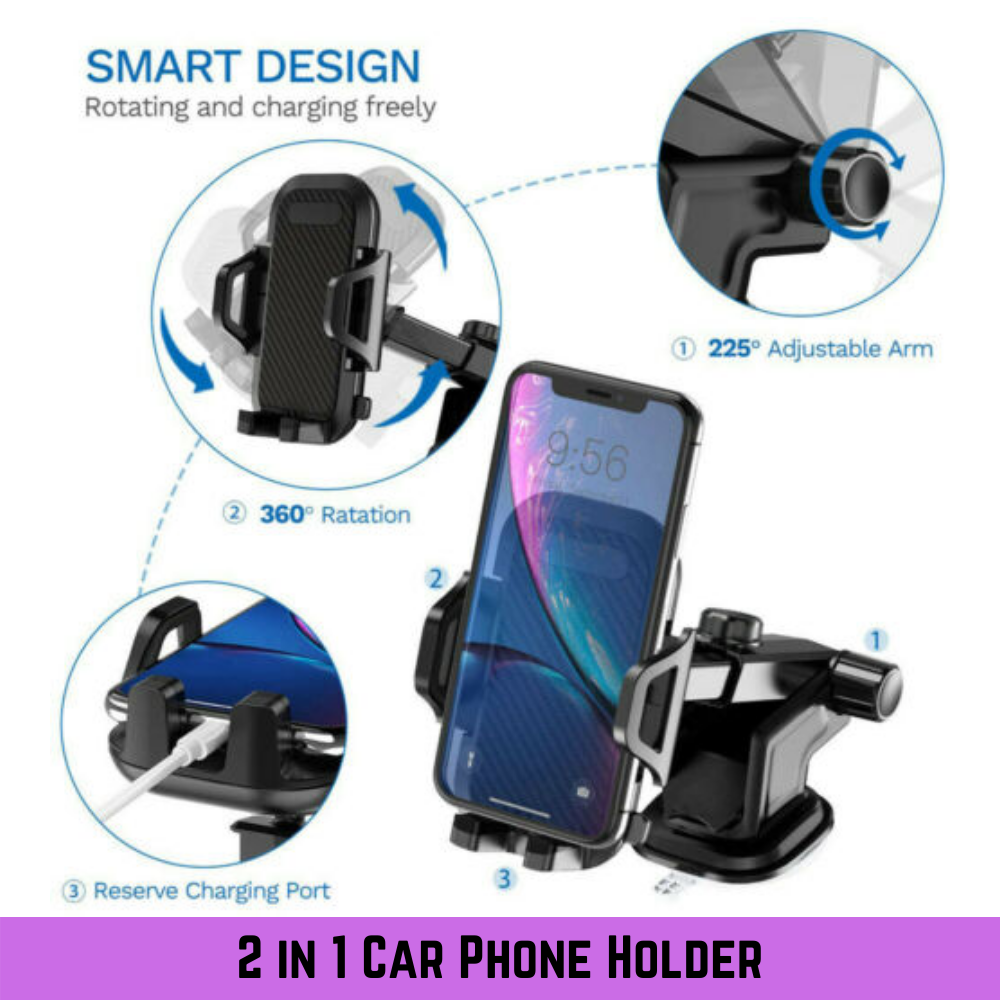 Universal 360° Windshield Mount Car Holder Cradle Long Neck For iPhone Samsung