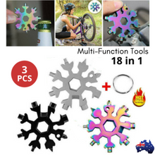 Load image into Gallery viewer, 3x 18 in 1 Stainless Multi-tool Snowflake Keychain