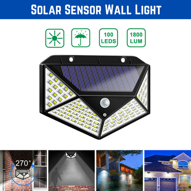 100 LED Solar Motion Sensor Light Outdoor