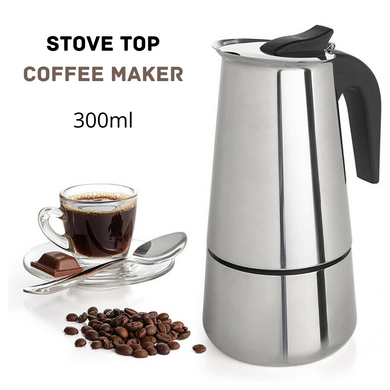 300ML STAINLESS STEEL STOVE ESPRESSO COFFEE MAKER