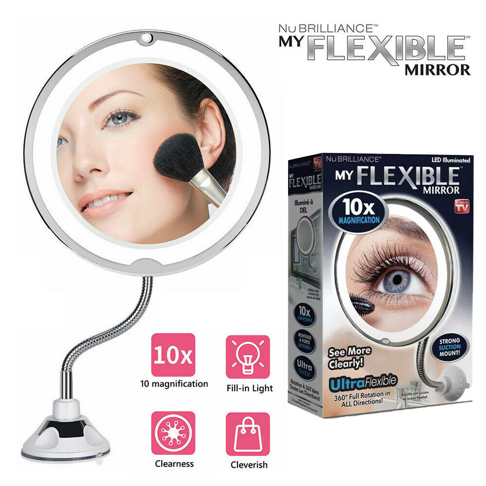 360° Rotation & 10X Magnifying Makeup Mirror With LED Light