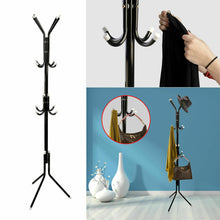 Load image into Gallery viewer, 3-Tier Hat Clothes Rack Metal 12 Hook Coat Hanger Stand in Black