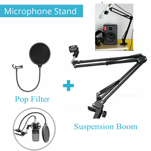 Microphone Stand Suspension Boom Arm Mic Holder Mount Pop Filter