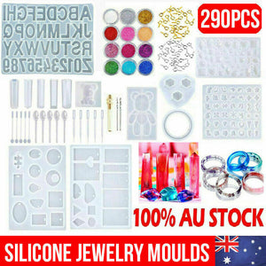 290pcs DIY Jewelry Mould Handmade Crystal Mould Set Silicone Resin Mold Kit
