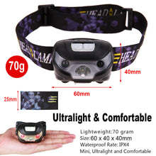 Load image into Gallery viewer, USB Rechargeable Head Torch LED Headlamp Flashlight