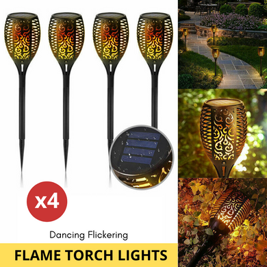 4X LED Solar Flickering Torch Path Light
