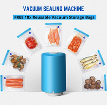 Load image into Gallery viewer, USB Automatic Compression Vacuum Pump Sealer + 10x Reusable Vacuum Storage Bags