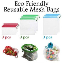 Load image into Gallery viewer, 9x Eco Friendly Reusable Mesh Produce Bags Superior Double-Stitched Strength