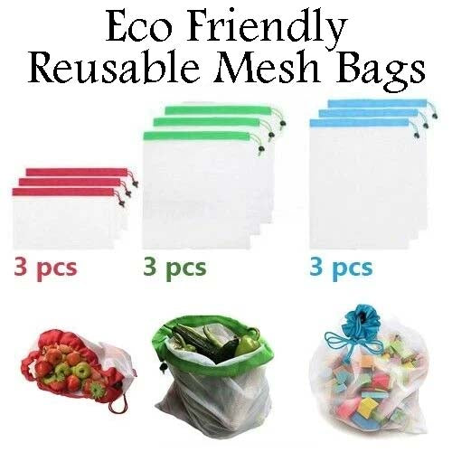9x Eco Friendly Reusable Mesh Produce Bags Superior Double-Stitched Strength