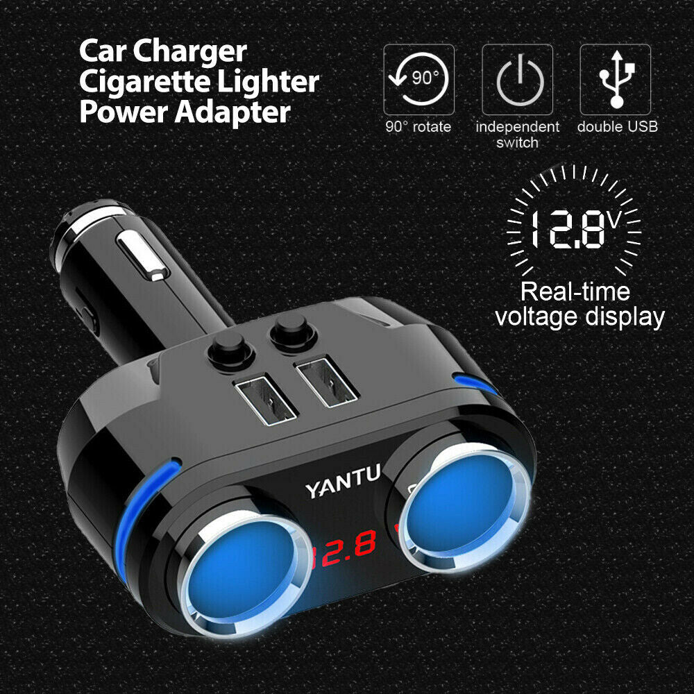Car Charger 12V 3.1A Dual USB Socket Splitter Power Adapter Voltage Display