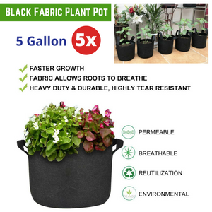 5x  Black Fabric Plant Pot Breathable with Handles 5 Gallon