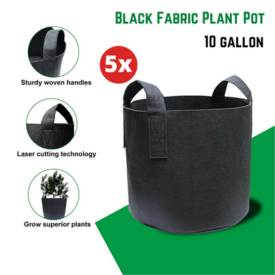5x Fabric Plant Pots Grow Bags with Handles 10 Gallon