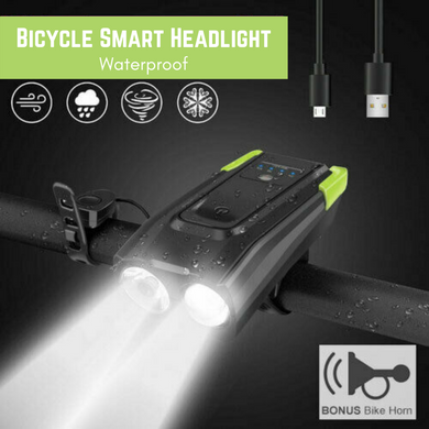 Bicycle Smart Headlight USB Rechargeable 2*T6 LED with Horn - 6 Modes Light