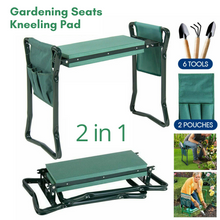 Load image into Gallery viewer, 2 in1 Foldable Garden Seat Kneeler with 2 pouch 6 Tools