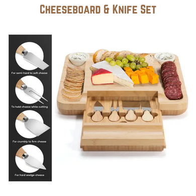 Bamboo Cheese Board & Knife Set Wooden