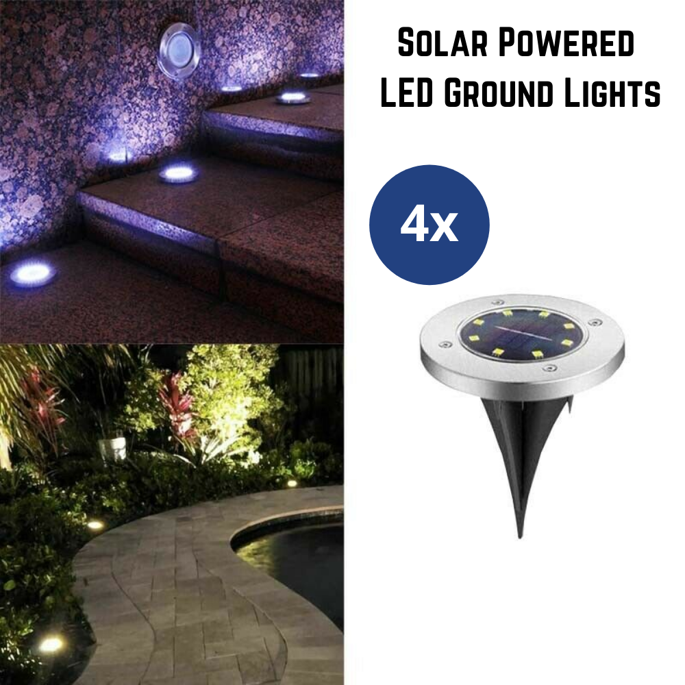 4Pcs Solar Powered LED Buried Inground Recessed Light