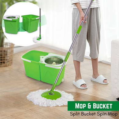 Split Bucket 360 Rotating Magic Spin Mop 2 Microfibre Mop Heads