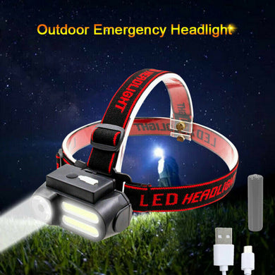 4 Modes COB LED Headlight USB Rechargeable Headlamp Head Light Torch Flashlight