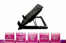 Load image into Gallery viewer, Notebook Laptop Cooling Pad Cooler Fan Stand w/ USB Hub
