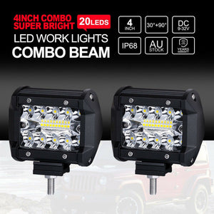 "Pair 200W 4"" inch Work Lights CREE Spot Flood LED Light Bar Reverse 4WD 12V 24V"