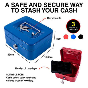 Medium Lockable Cash Box Deposit Slot Petty Cash Money Box Safe 2 Keys Portable