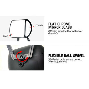 2x Towing Mirrors Pair Clip on Multi Fit Clamp On Towing Caravan 4X4 Trailer