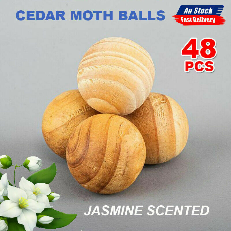 48Pcs Cedar Moth Balls Jasmine Scented repellent Clothes Insects Natural Wood