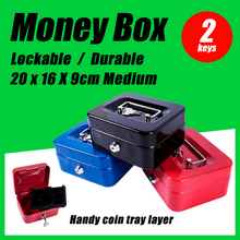 Load image into Gallery viewer, Medium Lockable Cash Box Deposit Slot Petty Cash Money Box Safe 2 Keys Portable