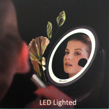 Load image into Gallery viewer, Sansai Portable USB Rechargeable & LED Lighted with 1x-5x Magnifying Makeup Mirror