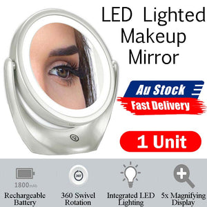 Sansai Portable USB Rechargeable & LED Lighted with 1x-5x Magnifying Makeup Mirror