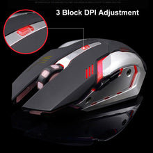 Load image into Gallery viewer, LED Wireless Gaming Mouse USB Ergonomic Optical for PC Laptop Rechargeable (Black)