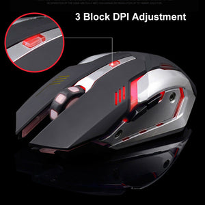LED Wireless Gaming Mouse USB Ergonomic Optical for PC Laptop Rechargeable (Black)
