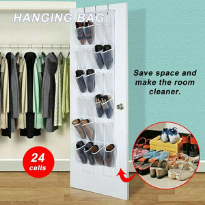 24 Pocket Shoe Holder Bag Organiser Over Door Hanging Shelf Rack Storage Hook