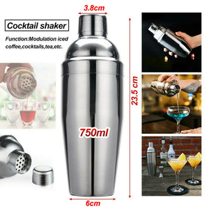 5PCS Cocktail Shaker Set Kit Stainless Steel 750ml