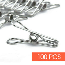 Load image into Gallery viewer, 100x Stainless Steel Clothes Pegs Hanging Clips