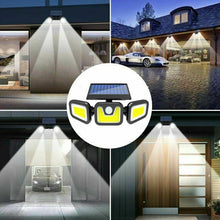 Load image into Gallery viewer, 3 Head Solar Motion Sensor Light Outdoor 100LEDS