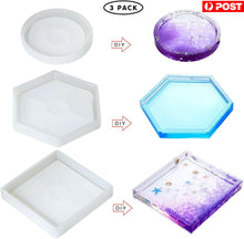 Load image into Gallery viewer, 3X Multi Silicone Mold Coaster Making DIY Polymer Clay Resin Casting Craft Mould