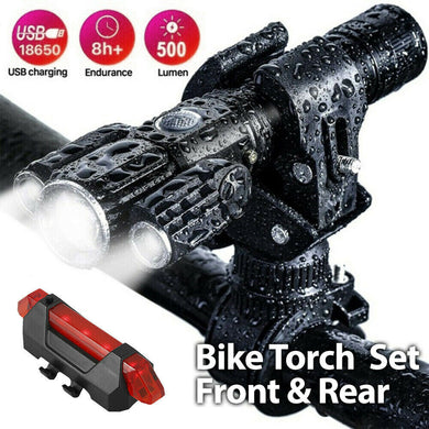 Torch Front & Rear Set Bike Bicycle Mountain LED Lights Rechargeable Lamp