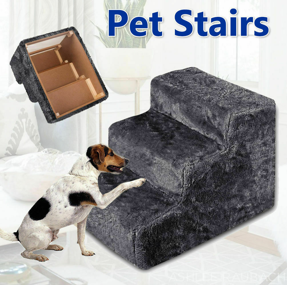 Portable Pet Soft Plush 3 Steps Ladder Dog Cat Stairs