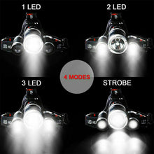 Load image into Gallery viewer, 100000LM RECHARGEABLE HEADLAMP 3T6 XML LED HEADLIGHT